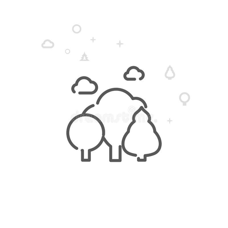Forest Vector Line Icon deciduo, simbolo, pittogramma, segno Fondo geometrico astratto leggero Colpo editabile royalty illustrazione gratis
