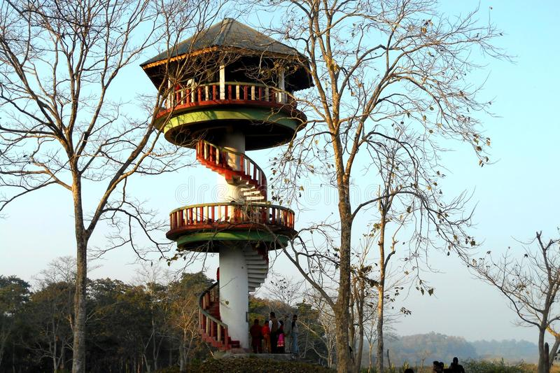 FOREST WATCH TOWER AT DUARS .WESTBENGAL. SEEN SAROUND FOREST AREA royalty free stock image