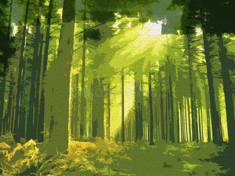 Forest water color background painting.Pine tree background royalty free illustration