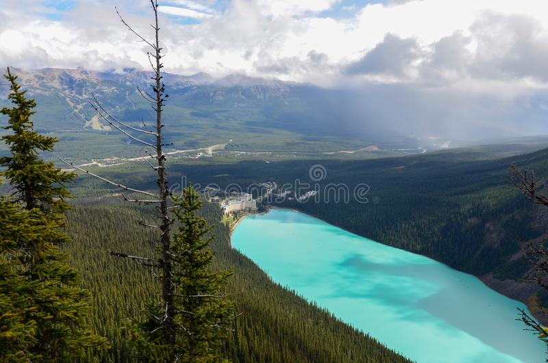 Lake Louise from above 2. Forest, water and landscape of Lake Louise from above royalty free stock photos