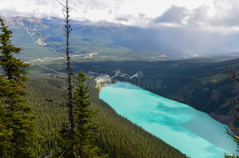 Lake Louise from above 1. Forest, water and landscape of Lake Louise from above royalty free stock photography