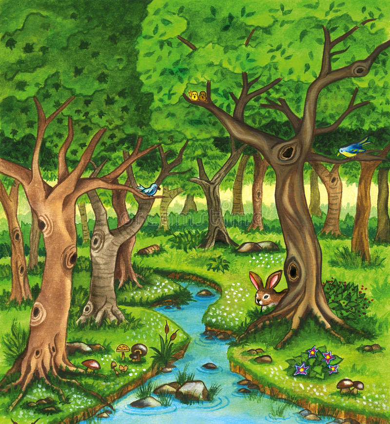 Forest watercolor illustration with trees and river. vector illustration