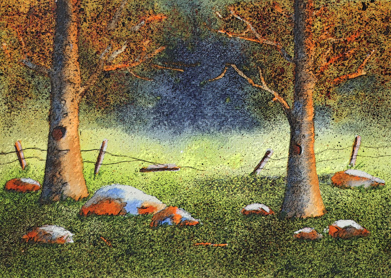 Forest watercolor painting.