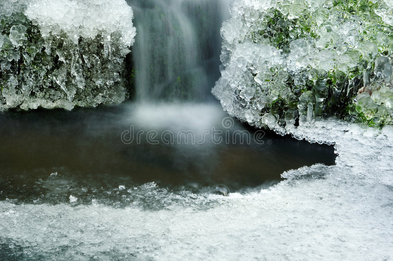 Forest waterfall. Still Life with a forest pond and icicles royalty free stock photo