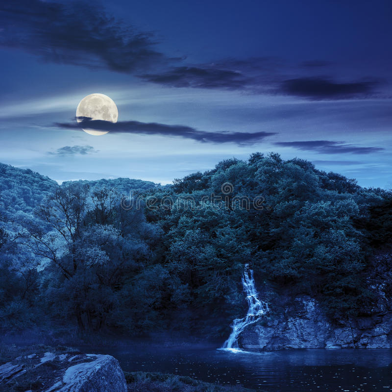 Forest waterfall on hill in fog at night stock photo