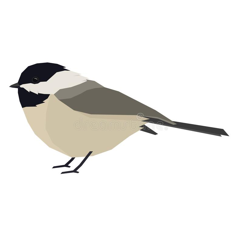 Forest Wild Life Isolated vector animals Geometric Chickadee. Set vector illustration