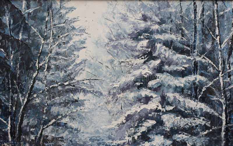 Download Forest Winter Landscape, Oil Painting Stock Illustration - Illustration of painting, stylized: 63223009