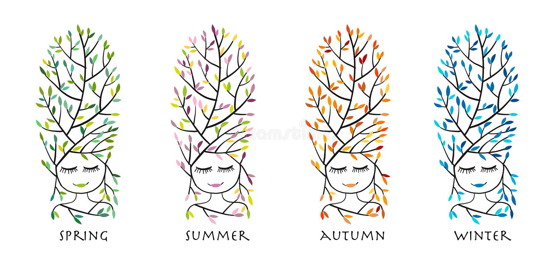 Forest woman, four season for your design. Vector illustration stock illustration