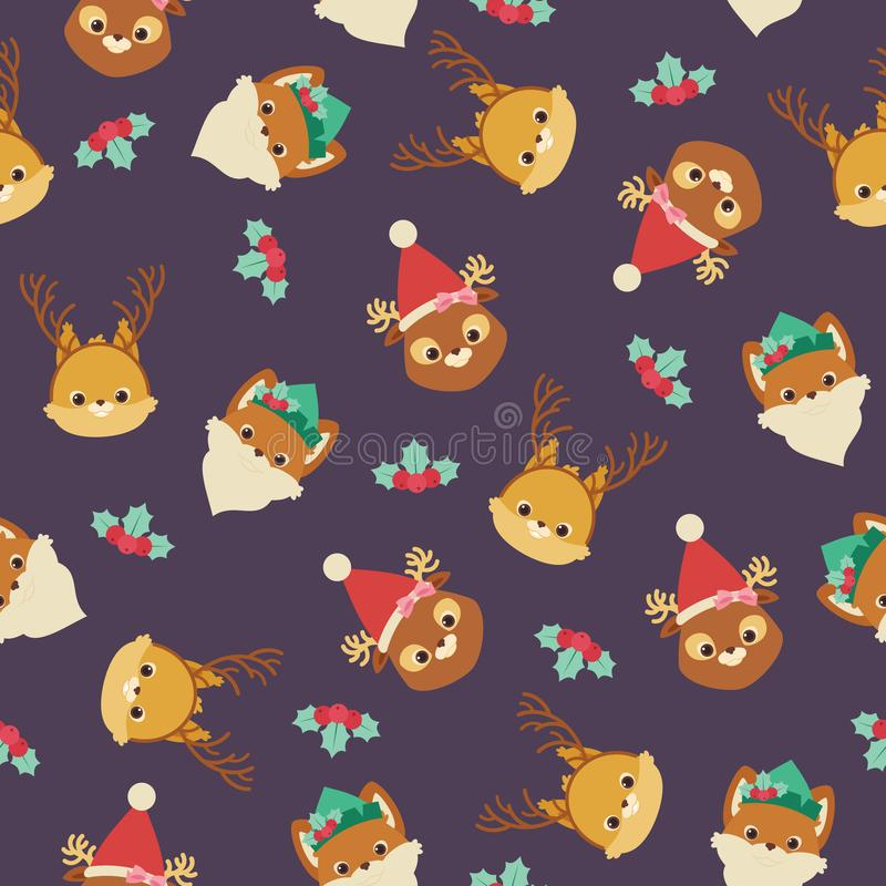 Forest or woodland animals squirrel, fox, deer in Christmas themed hats and headbands. Vector seamless pattern or wallpaper.  royalty free illustration