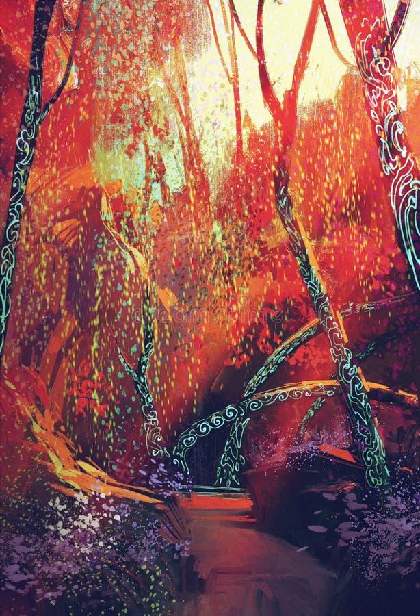 Foresta autunnale variopinta con gli alberi di fantasia illustrazione di stock