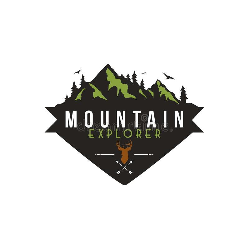Foresta, avventura della montagna, cervo Hunter Badge Vector Logo royalty illustrazione gratis