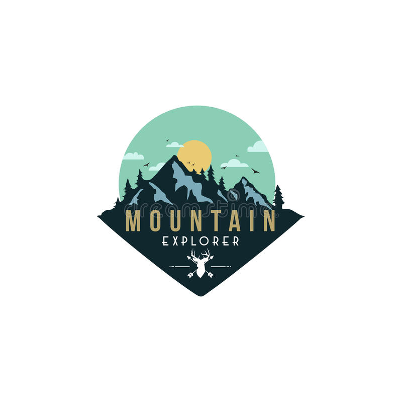 Foresta, avventura della montagna, cervo Hunter Badge Vector Logo illustrazione di stock