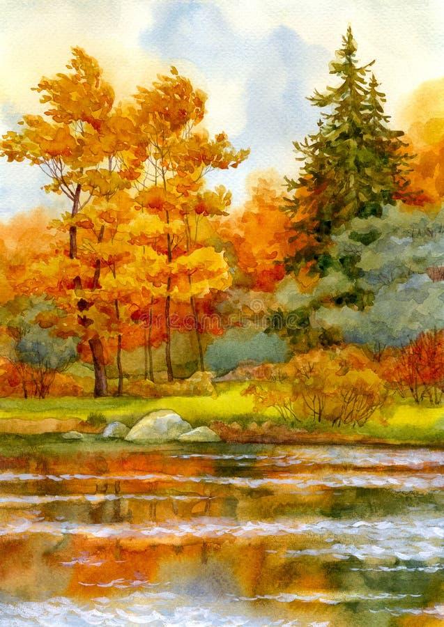 Foresta d'autunno sul lago illustrazione di stock