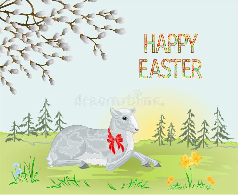 Foresta del paesaggio della primavera ed agnello di Pasqua sul prato e salice purulento con l'illustrazione d'annata di vettore d illustrazione vettoriale