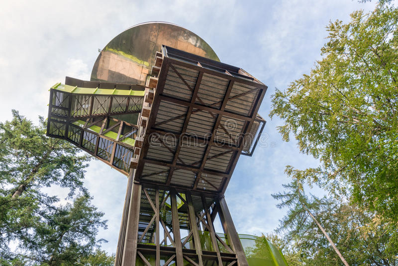Foresta del parco nazionale olandese Veluwe con la orologio-torre immagine stock