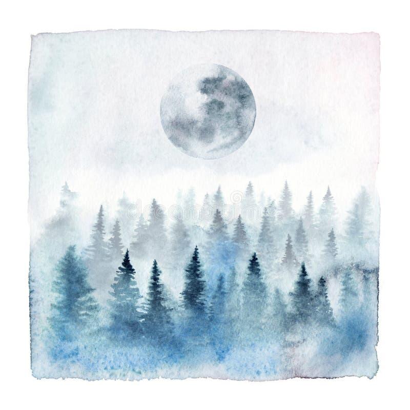 Foresta dell'acquerello con la luna piena illustrazione di stock