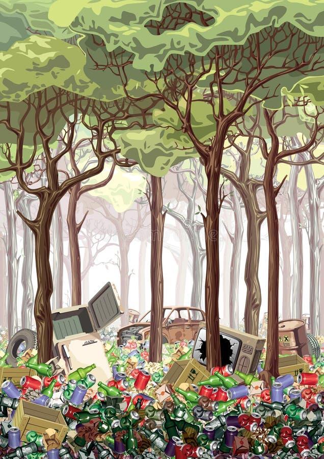 Foresta della roba di rifiuto illustrazione vettoriale