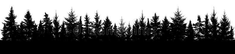Foresta della siluetta attillata degli alberi Panorama attillato conifero illustrazione di stock