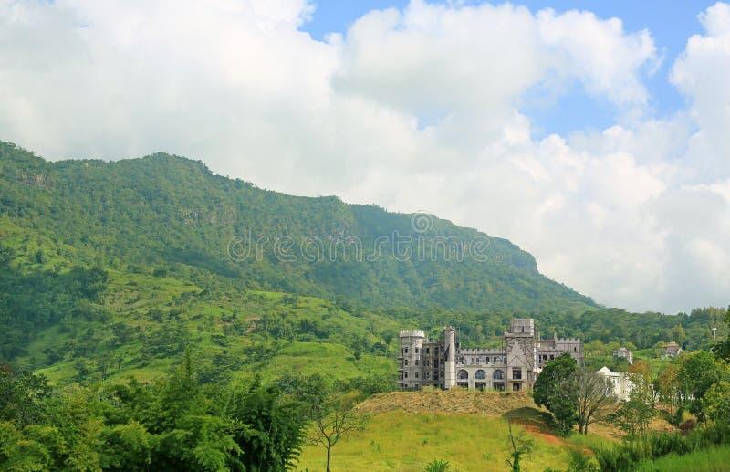 Foresta delle montagne con il castello in costruzione fotografie stock libere da diritti
