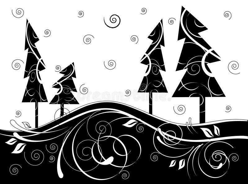 Foresta di B&w illustrazione vettoriale