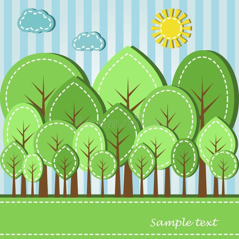 Foresta di estate o della primavera illustrazione vettoriale