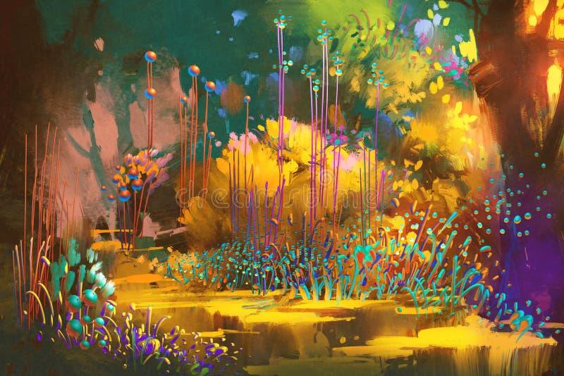Foresta di fantasia con le piante variopinte ed i fiori illustrazione vettoriale