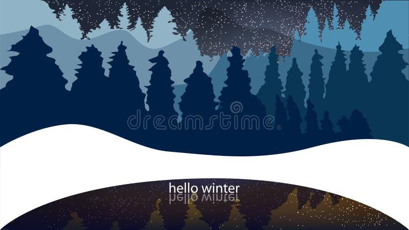 Foresta di inverno, conifere, precipitazioni nevose Fondo con le parole ciao w illustrazione vettoriale