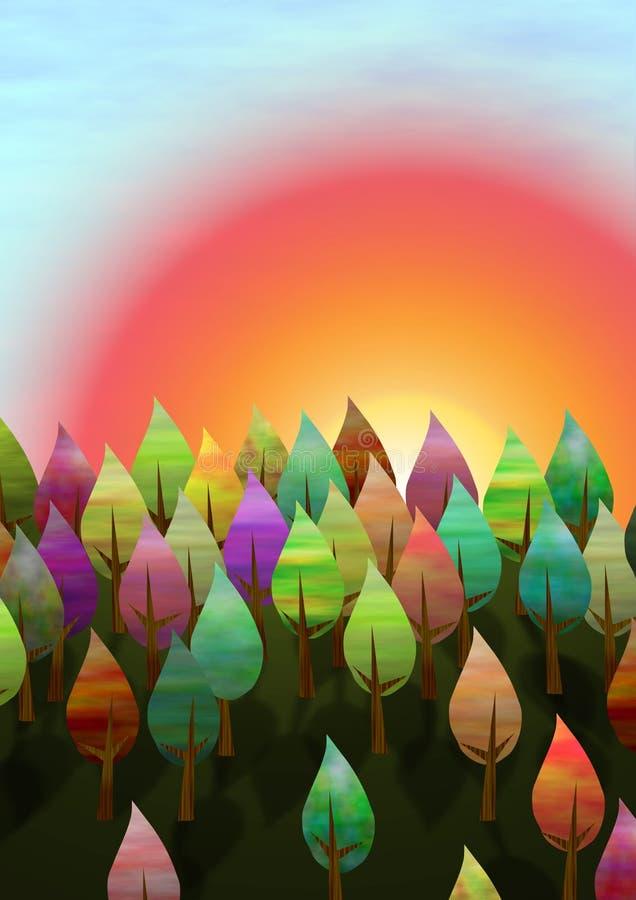 Foresta di tramonto illustrazione vettoriale