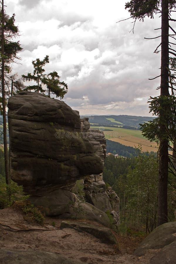Foresta e prati di trascuratezza della scogliera della roccia fotografie stock