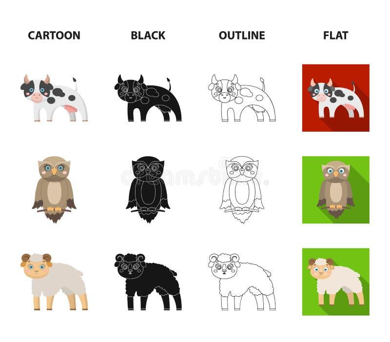 Foresta, ecologia, giocattoli e l'altra icona di web nel fumetto, il nero, profilo, stile piano Animali, azienda agricola, icone  illustrazione vettoriale