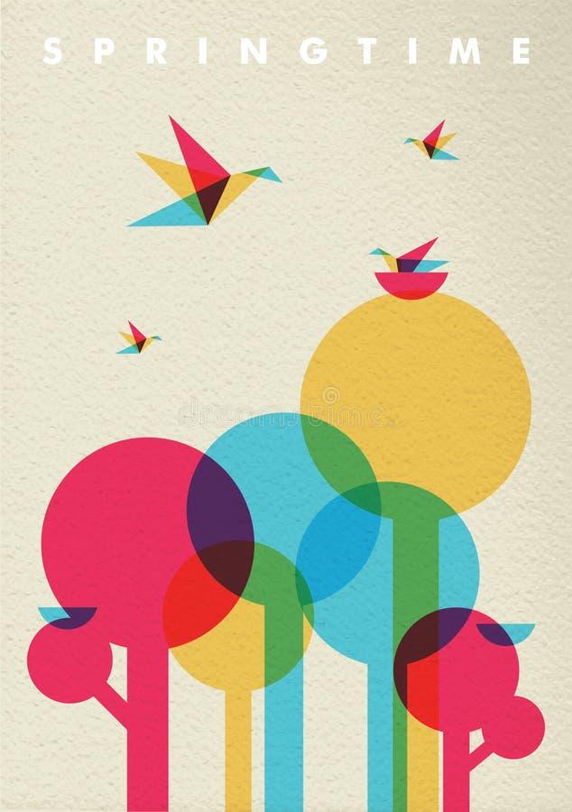 Foresta ed uccelli dell'albero della natura di tempo di primavera royalty illustrazione gratis