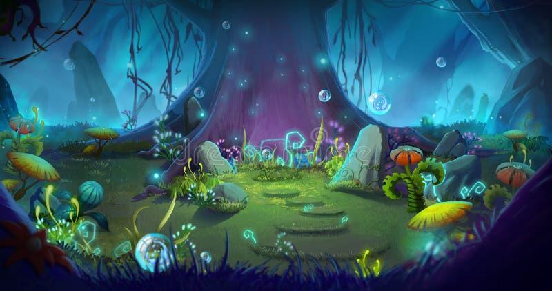 Foresta fantastica e magica illustrazione di stock