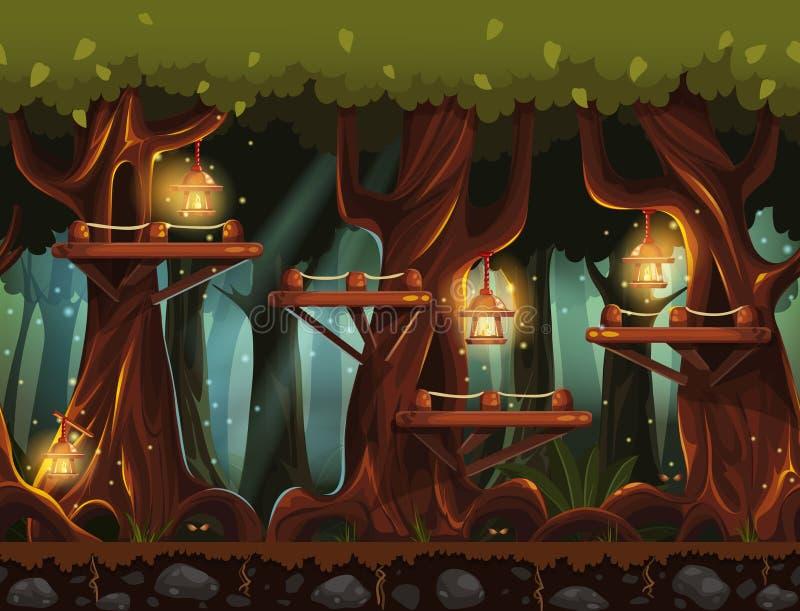 Foresta favolosa di notte del fondo con le lanterne, le lucciole ed i ponti di legno negli alberi royalty illustrazione gratis