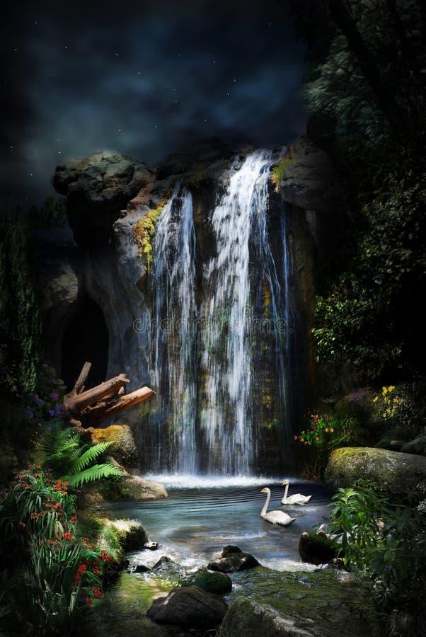 Foresta magica waterfall-1 fotografia stock