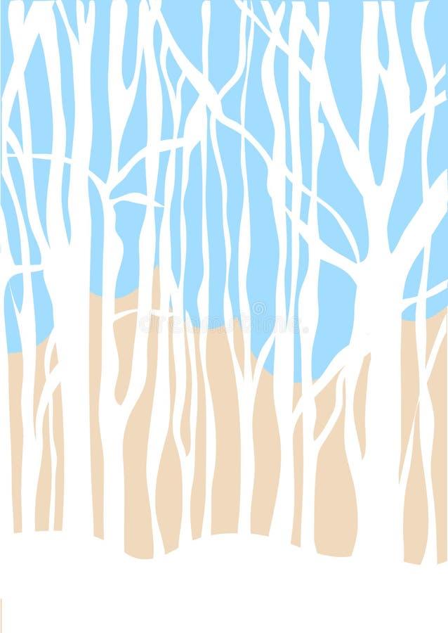 Foresta minimalistic di inverno del fondo di vettore immagini stock