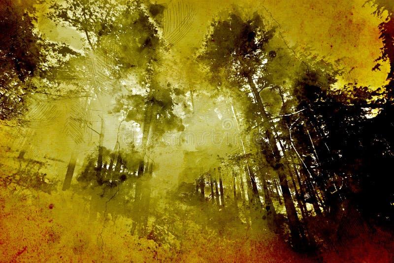 Foresta misteriosa, con un effetto pittura/d'annata immagini stock libere da diritti