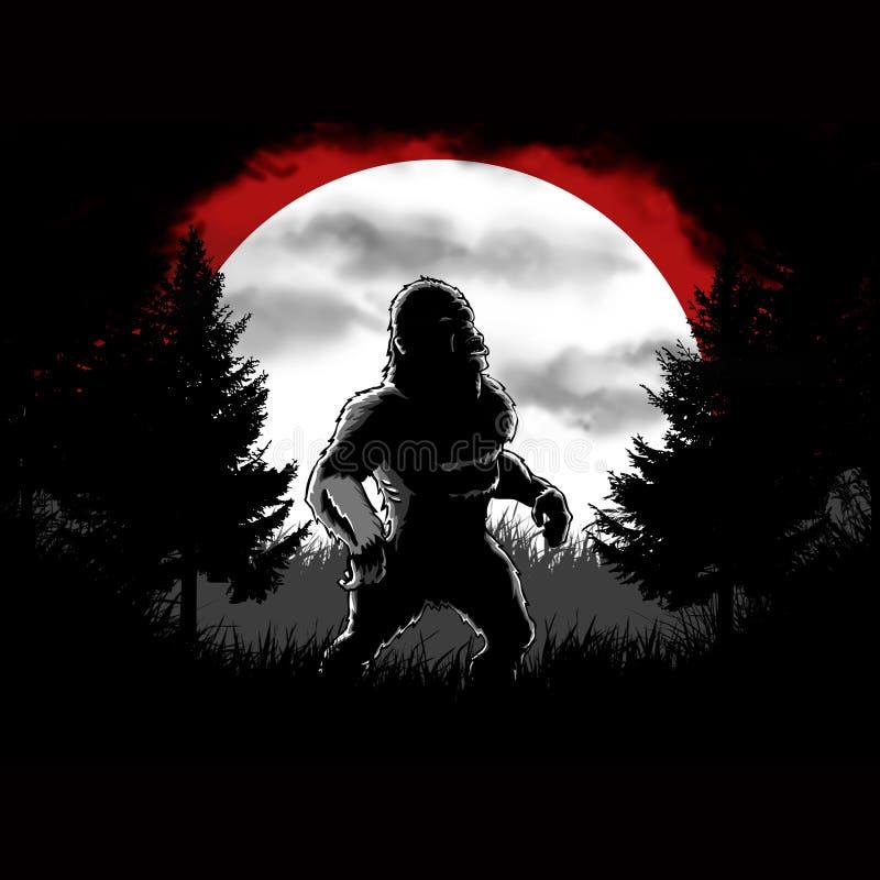 Foresta scura di Bigfoot illustrazione di stock