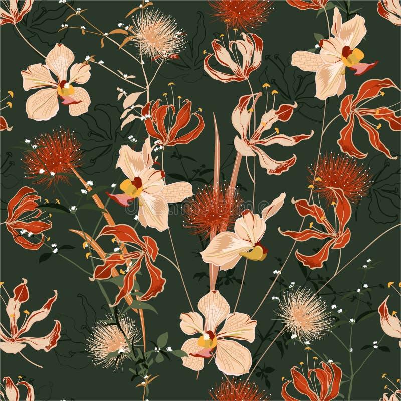 Foresta selvaggia di retro estate in pieno del fiore di fioritura in molti genere di vettore senza cuciture floreale del modello, illustrazione di stock