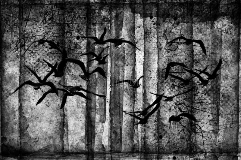 Foresta spettrale con gli uccelli di volo, alberi morti, ragnatele Partito di Halloween thanksgiving royalty illustrazione gratis