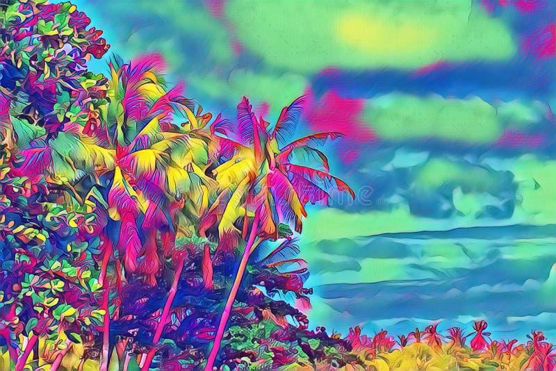 Foresta tropicale fantastica con le palme Giorno soleggiato sull'isola esotica royalty illustrazione gratis
