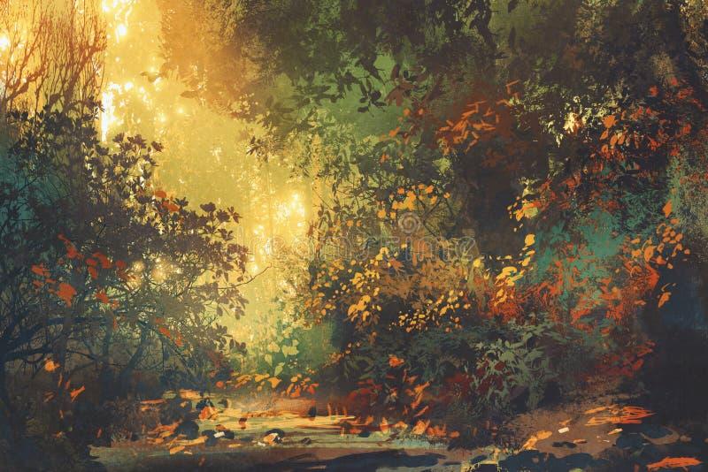 Foresta variopinta con gli alberi ed i fiori in primavera al tramonto illustrazione di stock