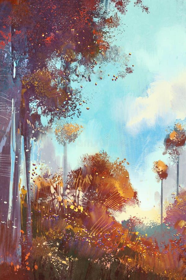 Foresta variopinta con le piante ed i fiori illustrazione di stock