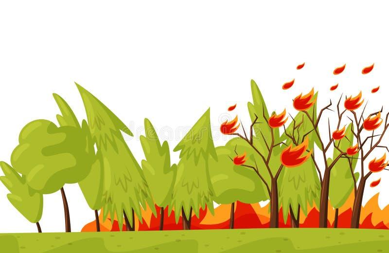 Foresta verde in fuoco Alberi Burning Disastro naturale Situazione di emergenza Tema di incendio violento Progettazione piana di  royalty illustrazione gratis