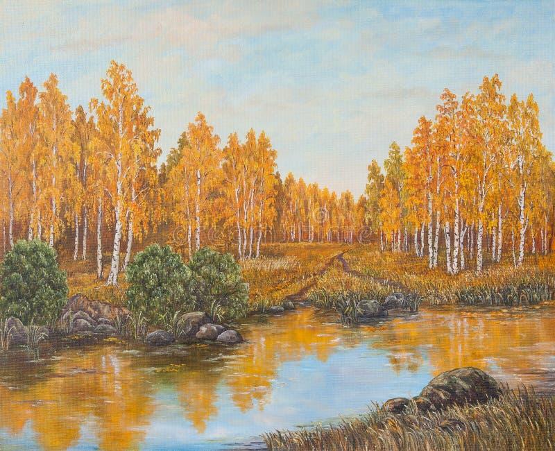 Foresta vicino al fiume, foglie arancio di autunno Pittura a olio originale su tela di canapa immagine stock libera da diritti