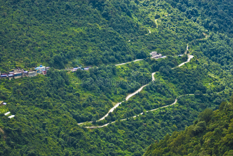 Forested hillside and roads. Green forested hillside with narrow roads royalty free stock photos