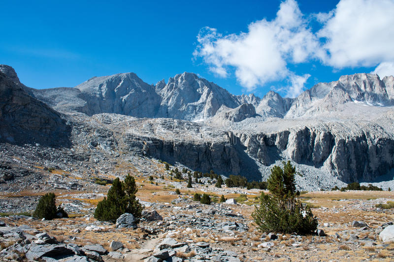 Forester Pass on the John Muir Trail. View of Forester Pass on the John Muir Trail in the High Sierra Mountains in Kings Canyon National Park royalty free stock images