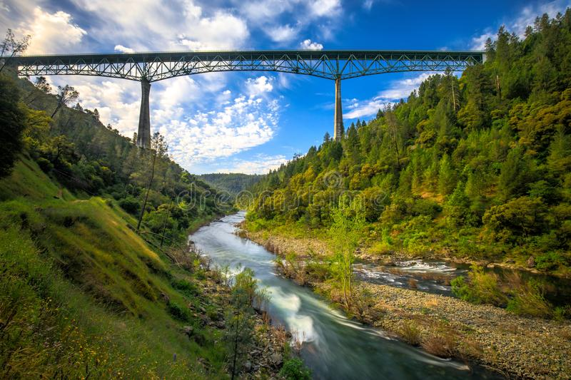 Foresthill Bridge in Auburn California, the fourth-tallest bridge in the USA and stands over the American river. Foresthill Bridge is fourth-tallest bridge in royalty free stock images
