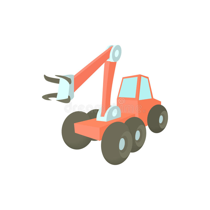 Forestry harvester icon in cartoon style vector illustration