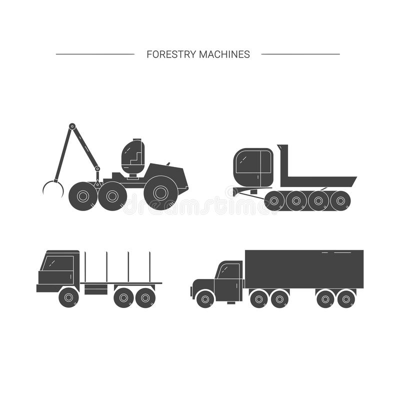 Forestry machines black line icon set. vector illustration