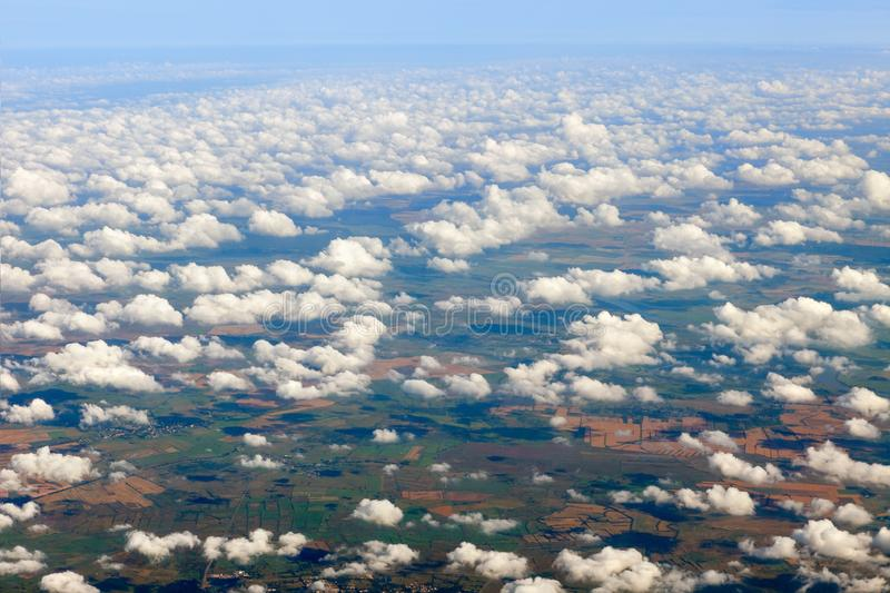 Forests, fields, rivers and cities. Aerial photography of the earth from a height of 10 thousand meters royalty free stock photos